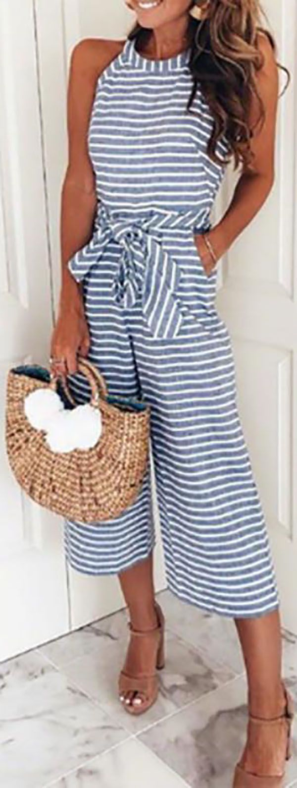 Photo of Big Sale!Striped Vacation Casual Jumpsuit