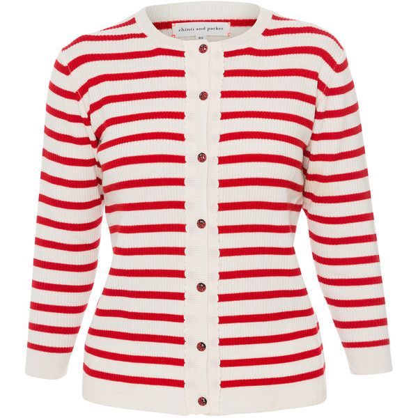 Chinti and Parker Cream And Cherry Stripe Wool Knit Cardigan
