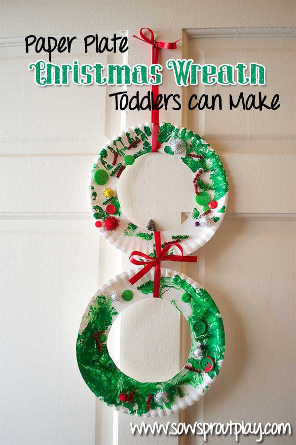 Paper plate christmas wreath simple fun and a great for Christmas crafts for little ones