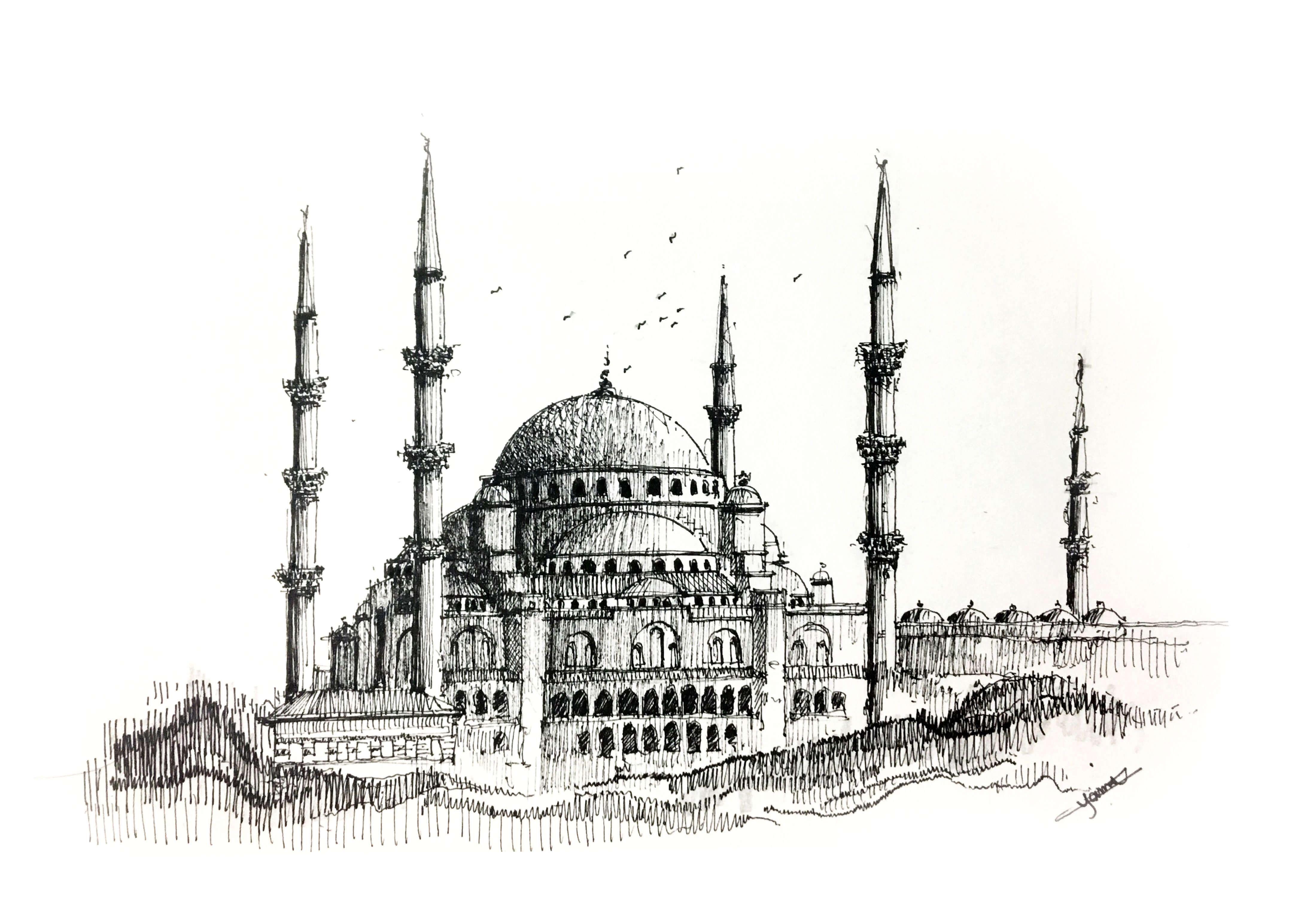 Karakalem Cami Resimleri Charcoal Mosque Drawings 2020 2020 Mimari Cizim Taslaklari Resim Camiler