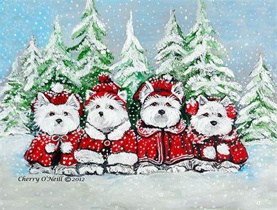 tucked in for Santa 12 Cards Lynch folk art West Highland terriers westies