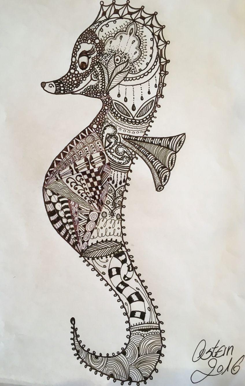 Seepferdchen Seahorse Zentangle Tiere Zentangle Muster