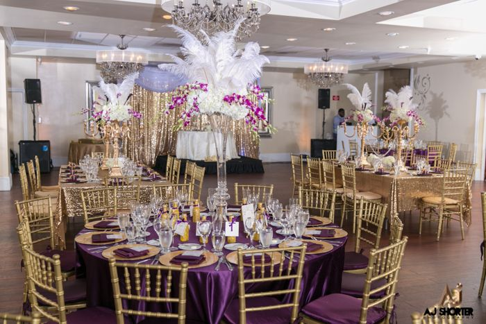 Purple and Gold Glam Great Gatsby Themed Wedding Gatsby wedding theme Great gatsby themed