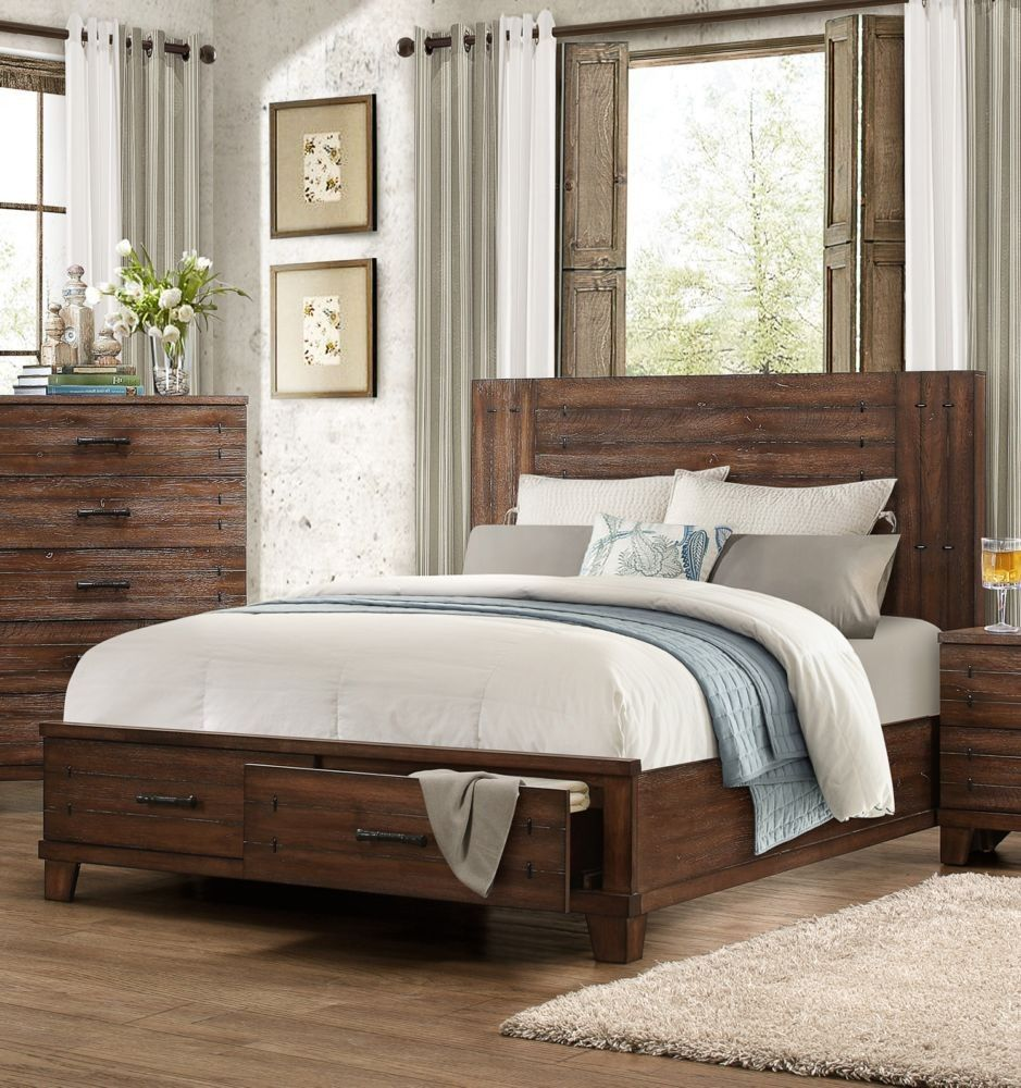 1877 1 brazoria rustic style natural wood queen bed 2 storage