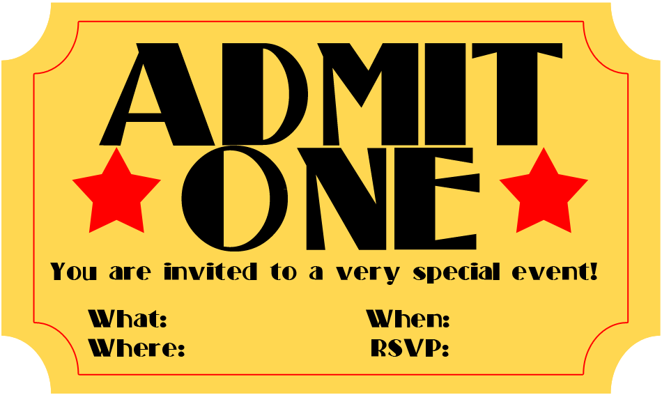 picture regarding Free Printable Movie Ticket Invitations referred to as No cost Printable Invitation: Video clip Ticket Stub ~