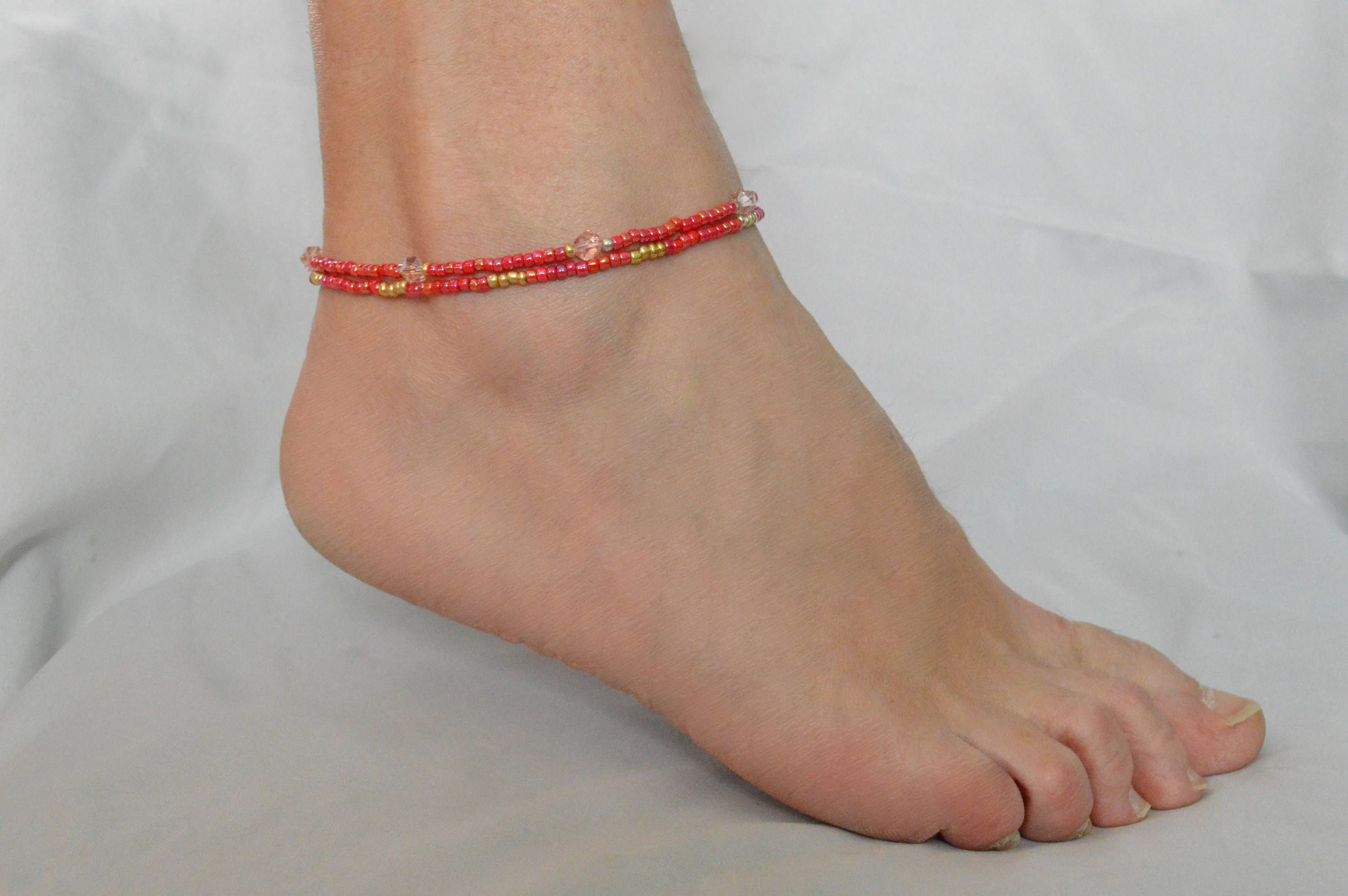 jewelry anklet pin her for silver black and beaded classy summer anklets j