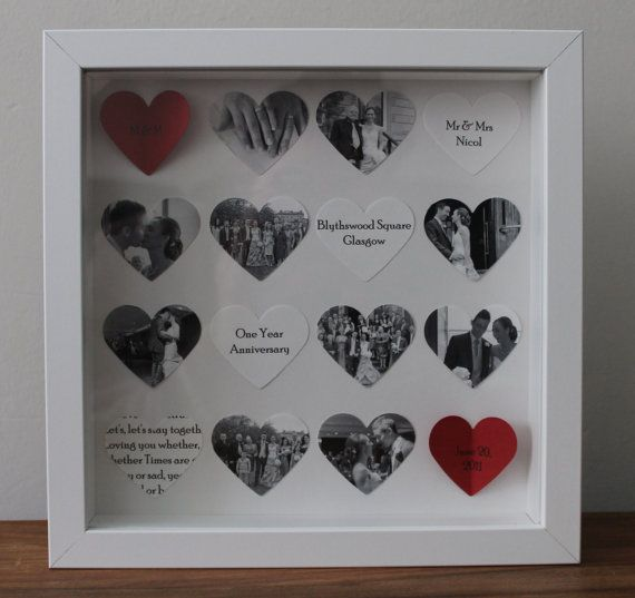 personalised anniversary gift bespoke 16 heart anniversary frame 3d photo collage. Black Bedroom Furniture Sets. Home Design Ideas