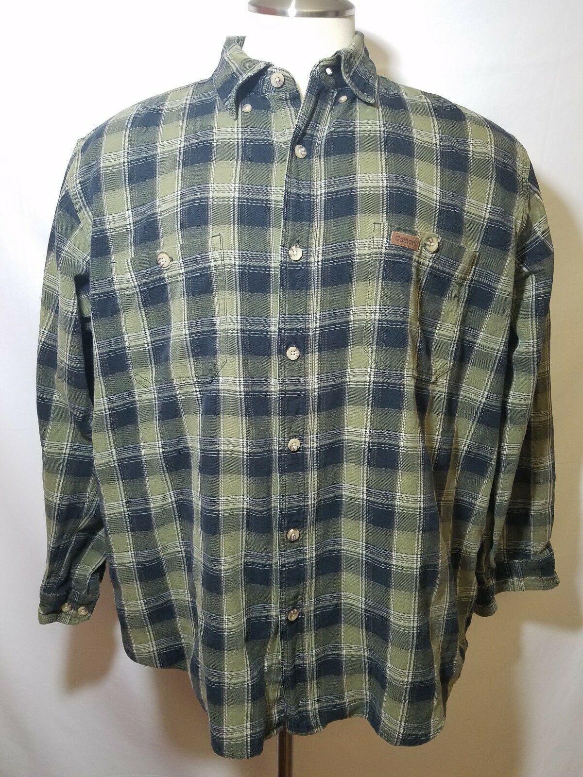Carhartt Mens Black Green Plaid Button Up Long Sleeve Shirt Size Xl 100 Cotton In 2020 Carhartt Shirts Long Sleeve Shirts Shirts
