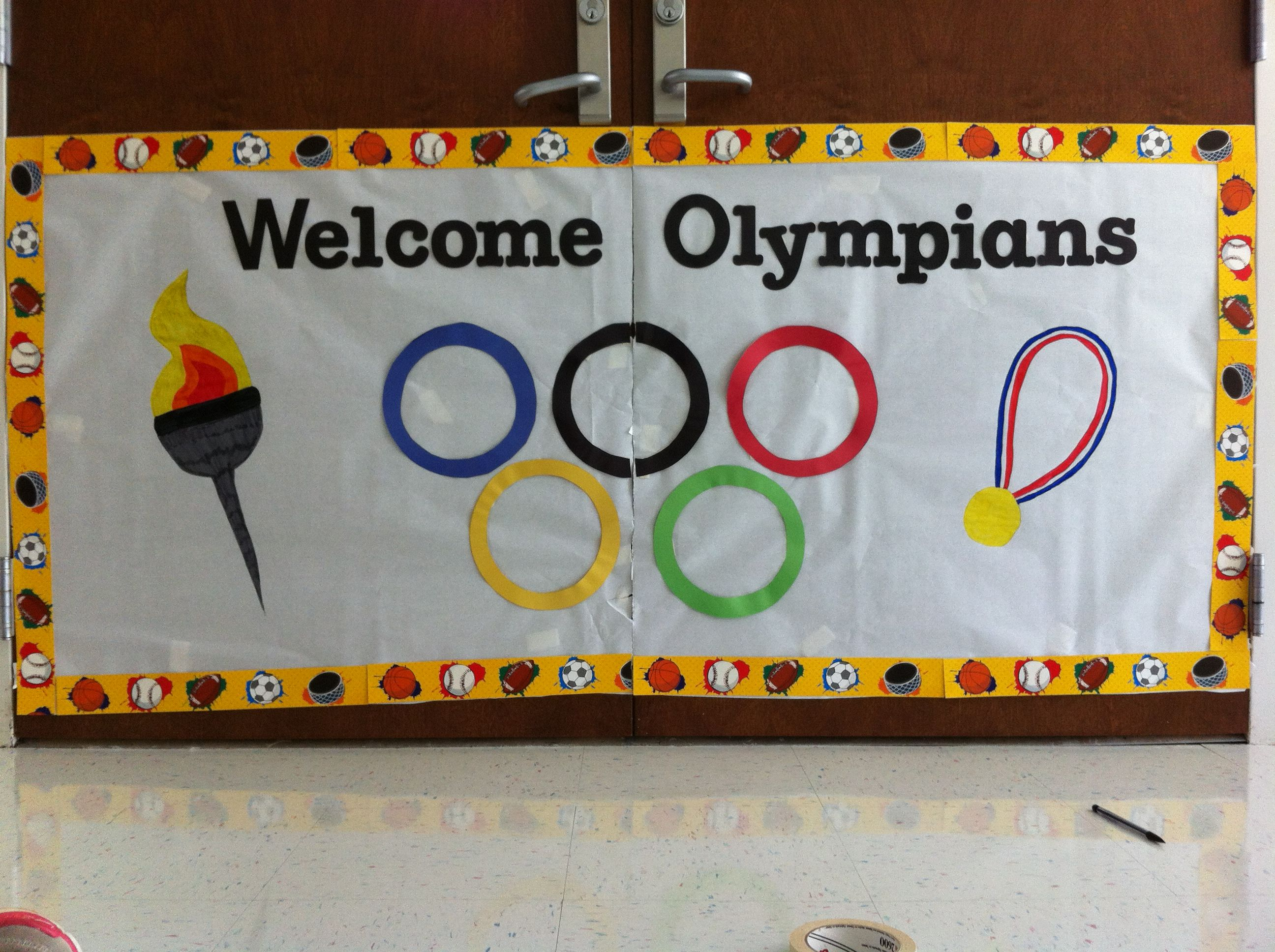Physical education door decoration Work school
