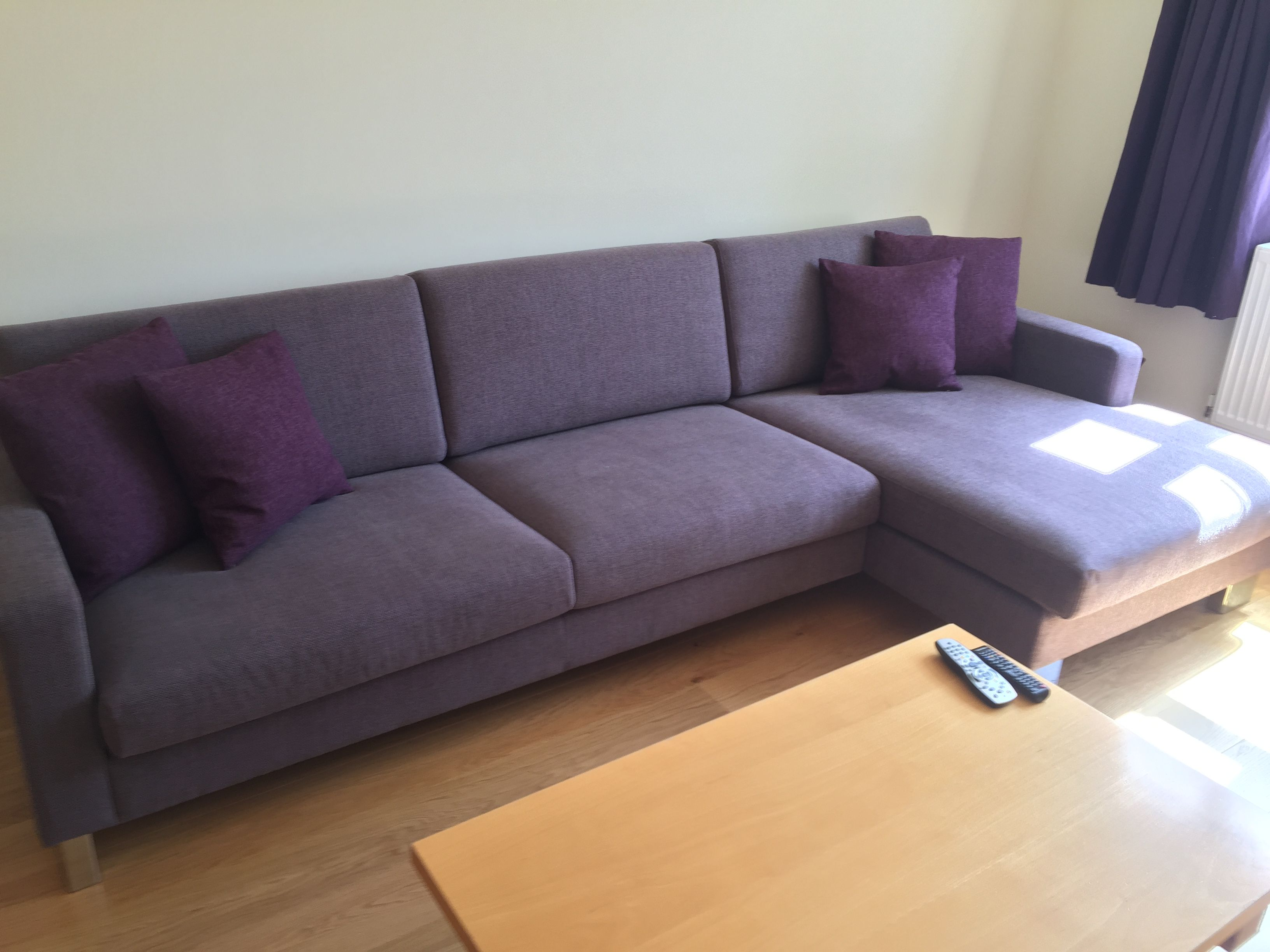 Corylus right handed chaise sofa in J Brown Harley lavender