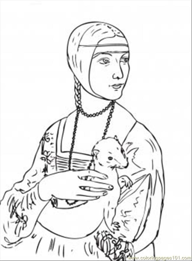 Lady with an Ermine Coloring Page (Leonardo da Vinci) | printable ...