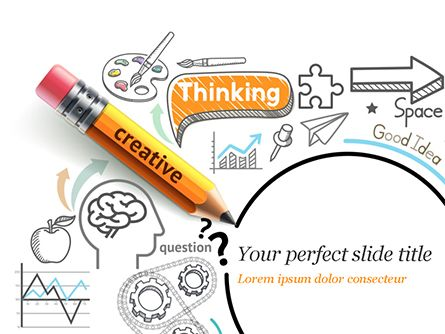 Creative Thinking Doodles Powerpoint Template Backgrounds 14842
