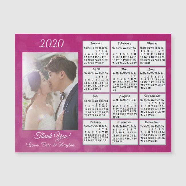 Wedding Photo Magenta 2020 Magnet Calendars