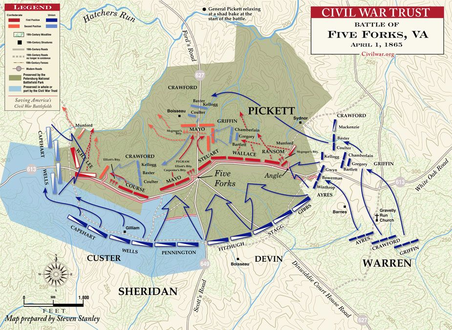 Battle Of Five Forks April Civil War Maps Pinterest - Appomattox us map