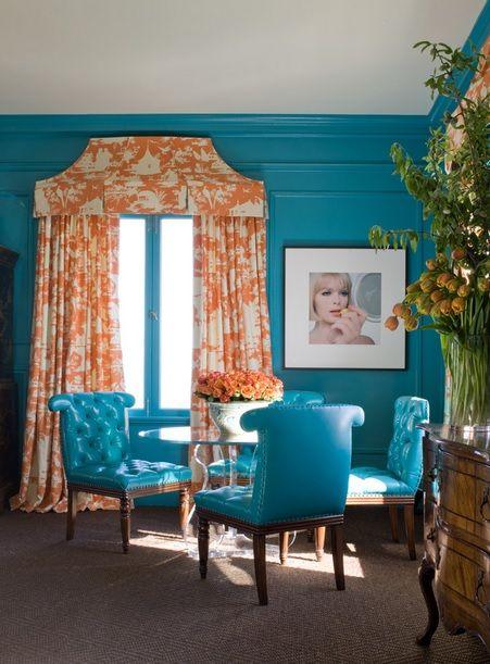 Attirant Stylish Home Blue Accent Studio Apartment Orange Drapes.