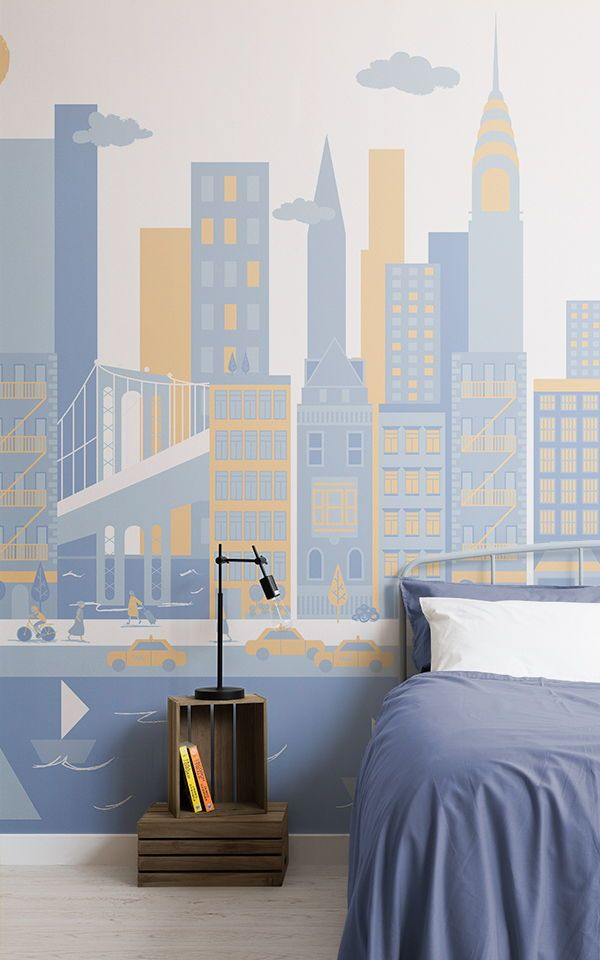 New York City Living Wandtapete in Blau Tapeten Wandbilder - tapeten ideen fr schlafzimmer