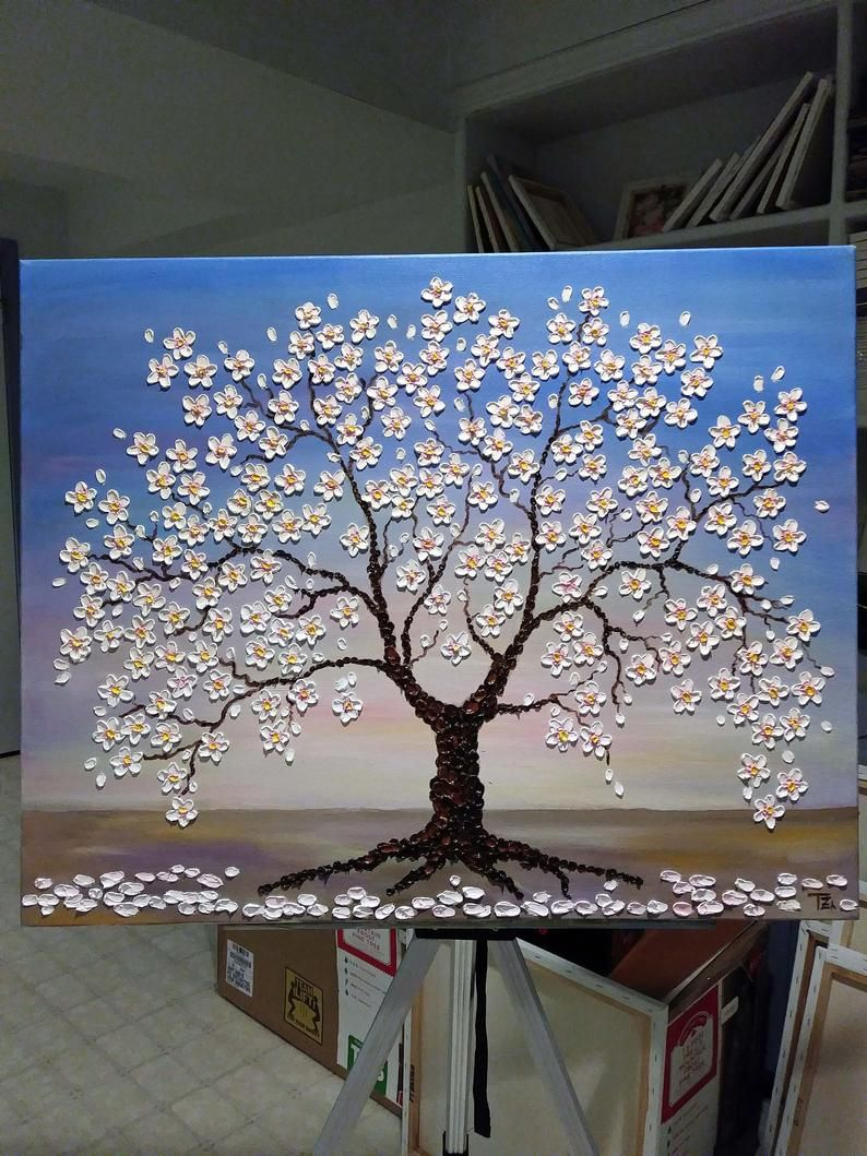 Cherry Blossom Oil Painting Christmas Gifts For Women Tree Of Life Wall Art Impasto Oil Painting Original Oil Painting Above The Bed Cherry Blossom Painting Tree Painting Easy Tree Painting Canvas