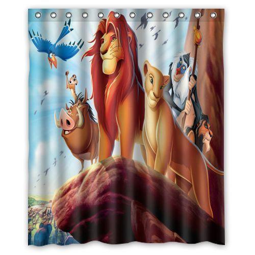 Nl213 The Lion King Animation Shower Curtain Bath 60 X 72 With