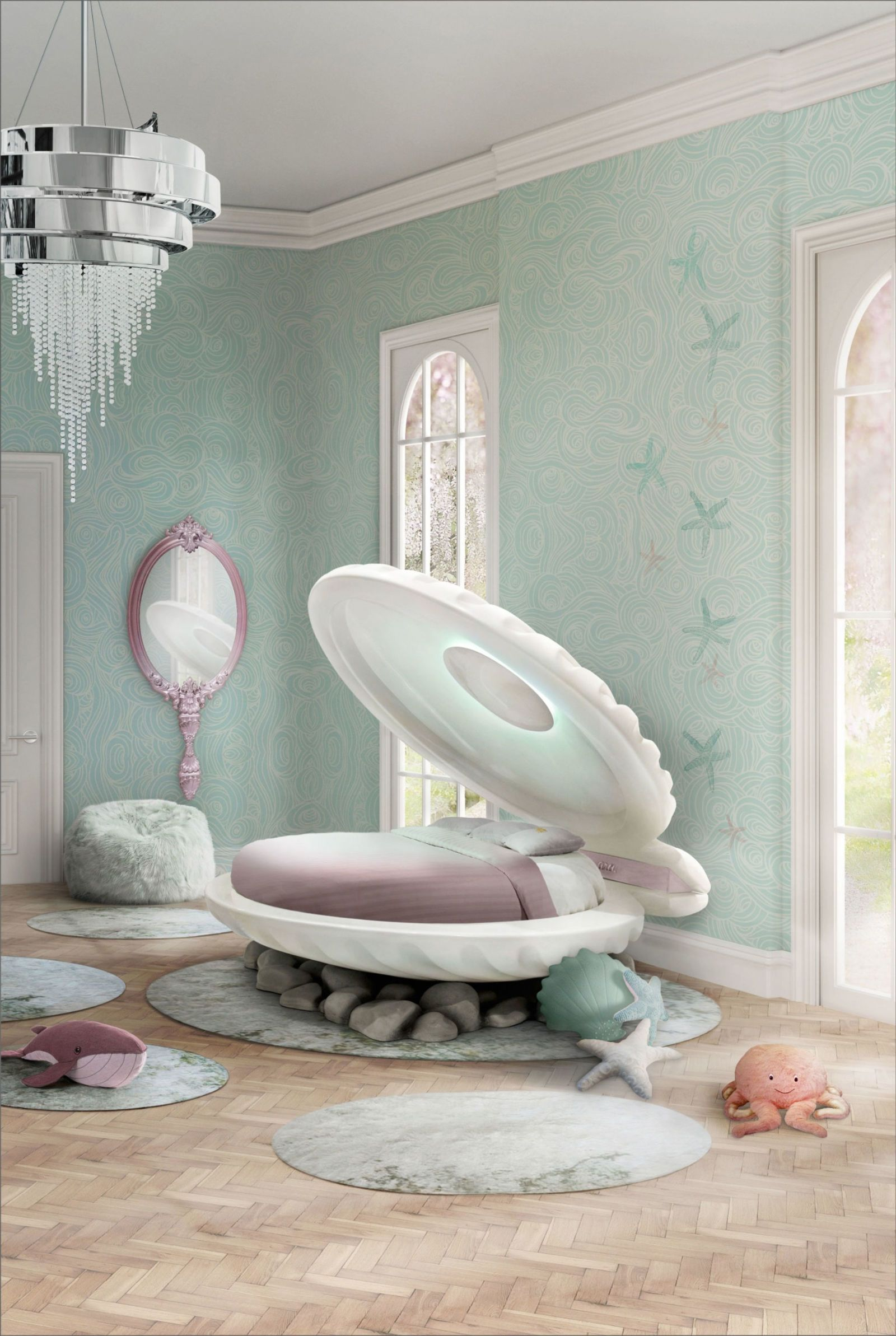 """a """"the little mermaid"""" clamshell bed now exists in the world"""