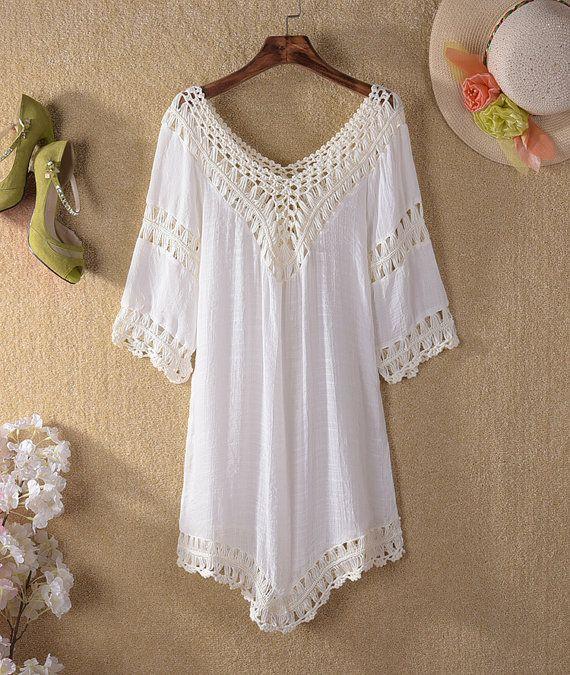 1b8a92320fcfc Crochet beach top, summer top, white top, women crochet tops, crochet  tunic, crocheted top for wom