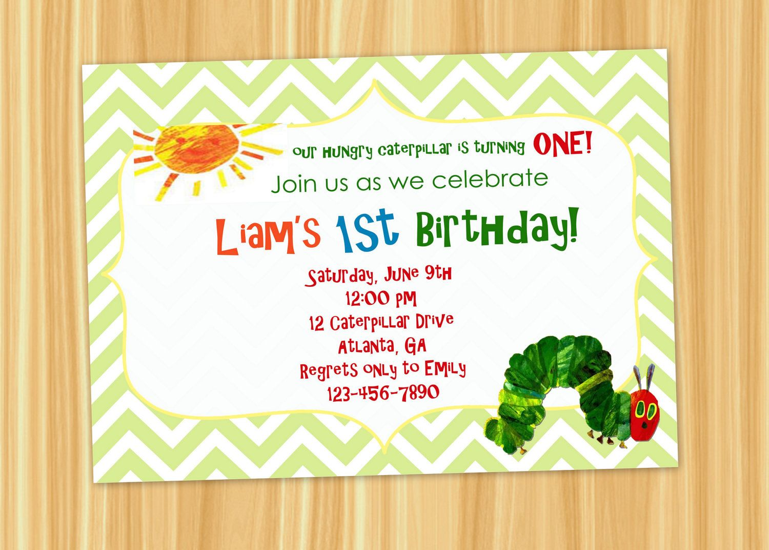 Custom Printable Chevron The VERY HUNGRY CATERPILLAR Birthday Party ...