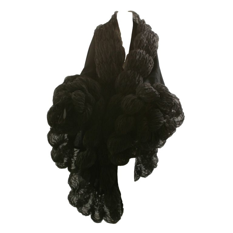 1stdibs.com | 1980s CANOVAS luxury cashmere and silk organza wrap with matching long gloves