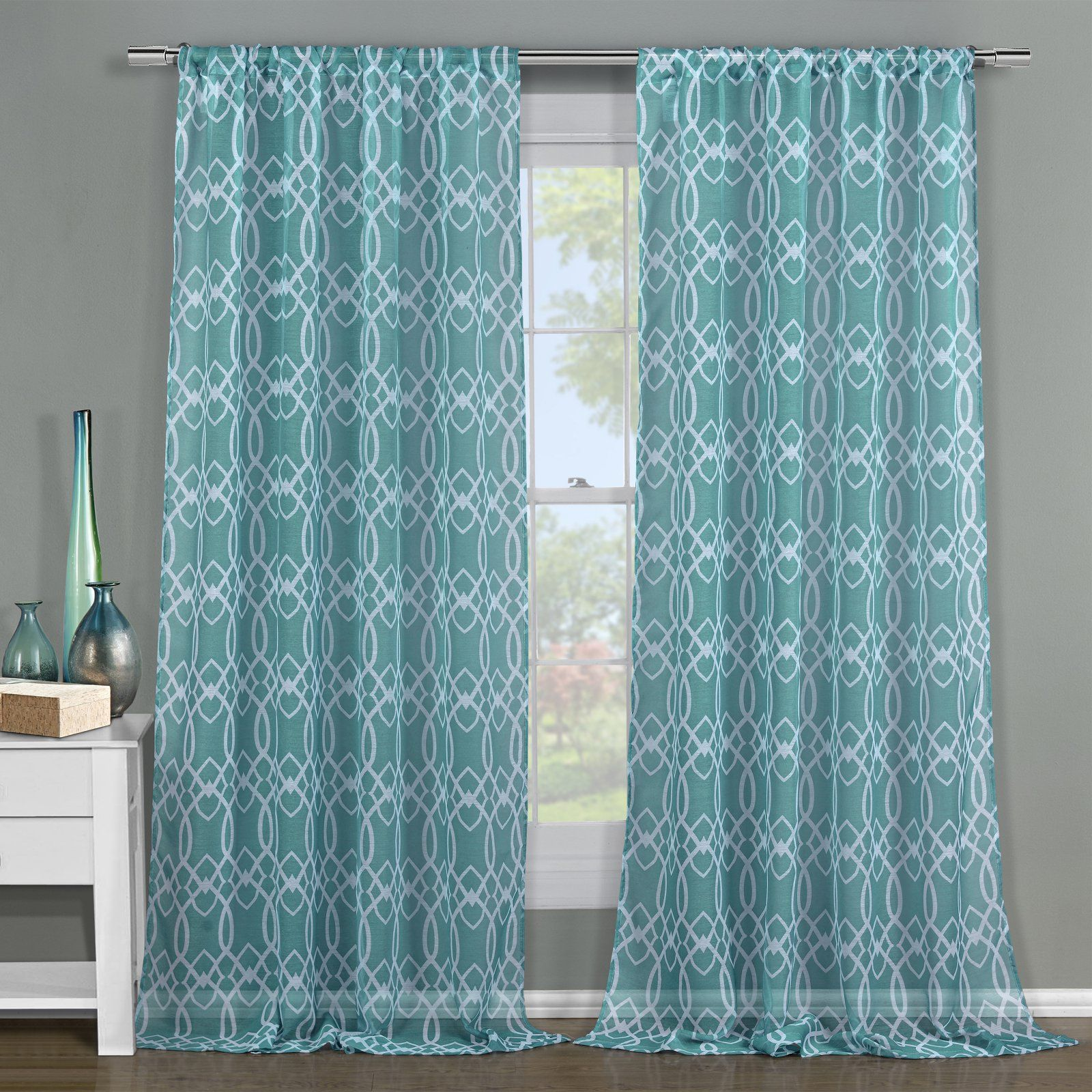 Duck River Newbella Pole Top Curtain Panel Pair Teal Geometric