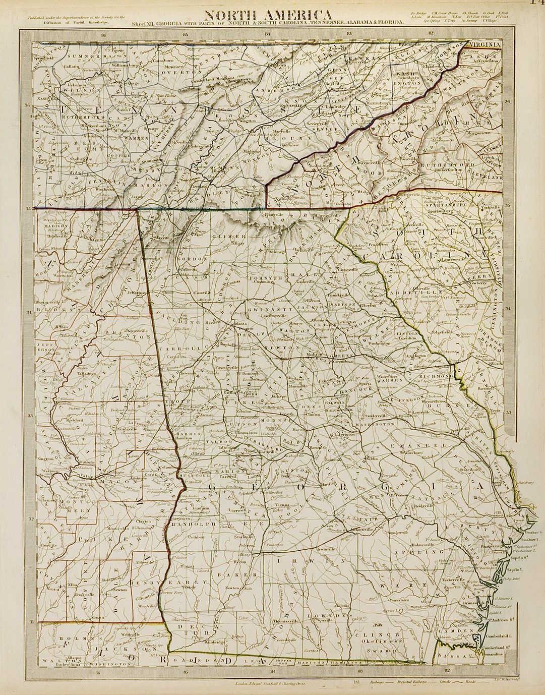North America, Georgia with parts of North and South ... on ky and tn, map of alabama and ms, map of kentucky and tenn border, map of florida georgia and tennessee, 1940 map nashville tn, map of carolina's and georgia, map florida to tennessee, map of alabama and ge, map of florida alabama border, map of alabama and surrounding states, map of north alabama and tennessee, map of tennessee alabama border, map of haleyville alabama,
