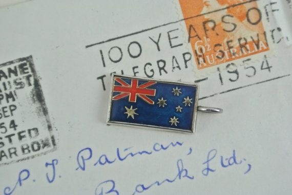 Vintage Australian Flag Sterling Silver Charm   Tourist Souvenir Pendant    Enamel Charm