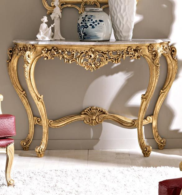 Gold Furniture, Antique Furniture, Provincial Furniture, Classic Furniture,  French Decor, Marble Top, Antique Gold, Gold Leaf, Console Tables