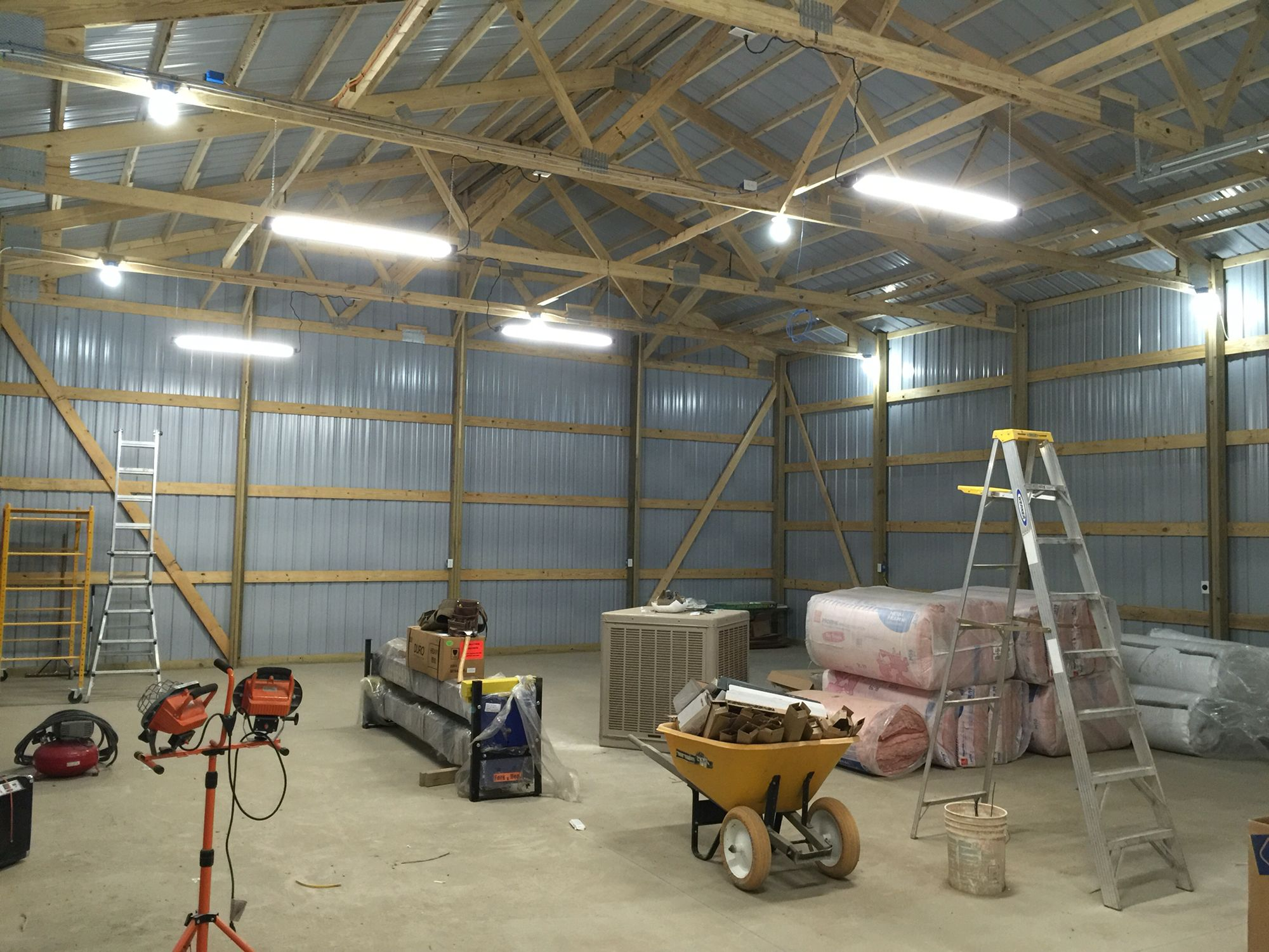 Electrical finished and ready to insulate the pole barn
