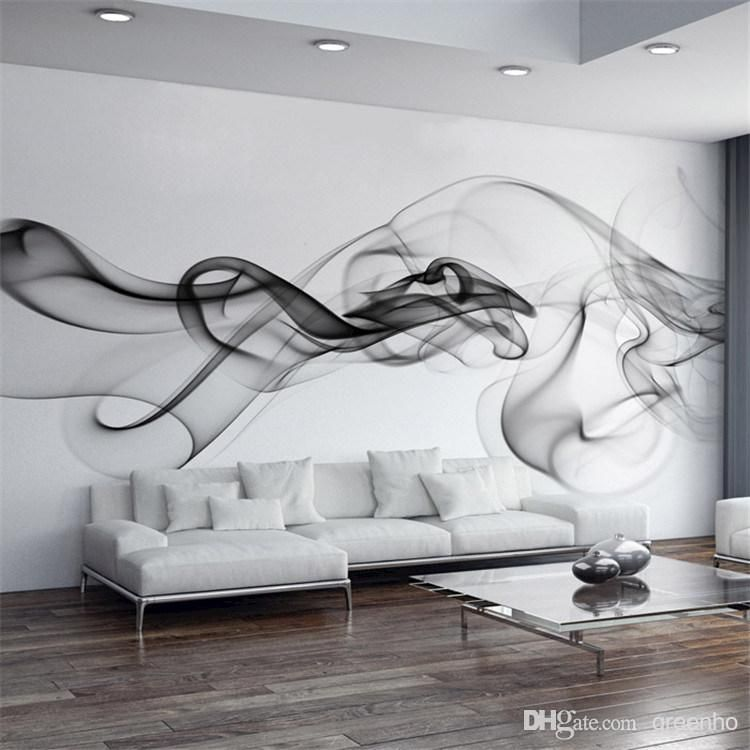 Smoke Fog Photo Wallpaper Modern Wall Mural 3D View Designer Art Black White Murals Office Living RoomsBedroom