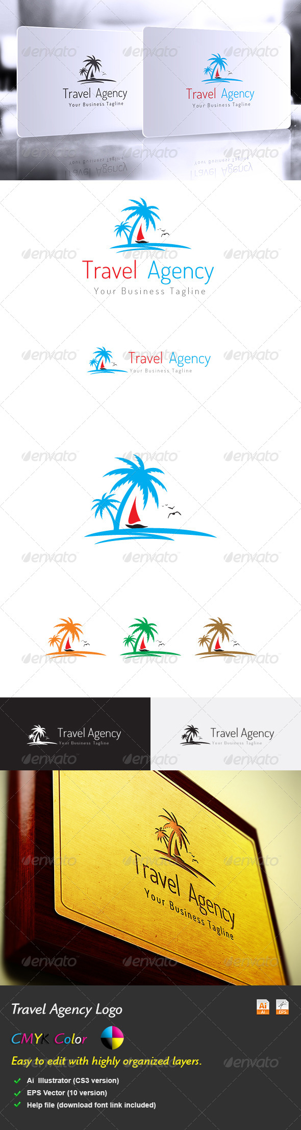 Travel Agency Logo is a designed for any types of Holiday or Tours companies. It is made by simple shapes although looks very professional. The file includes Multi variations of the Logo.