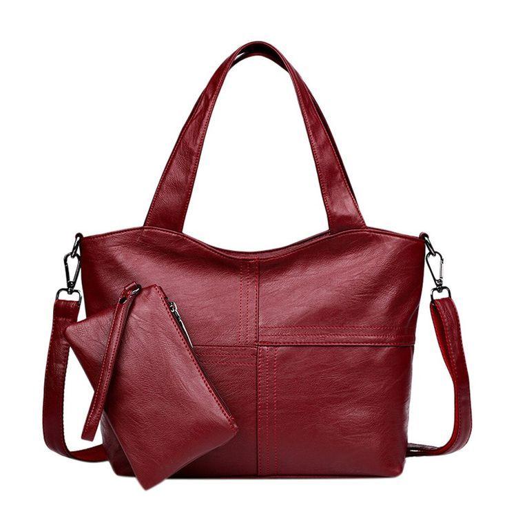 2Pcs Conjunto de bolsos de mujer Patrón de señoras Bolso de moda de color puro + Carteras Bol…