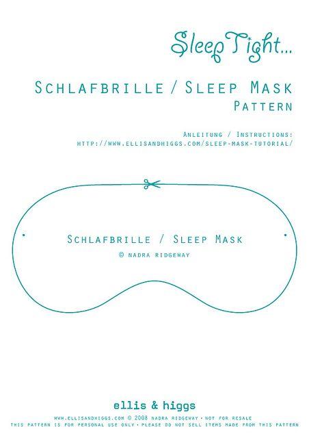 Schlafbrille / Sleep Mask Tutorial | Masking, Tutorials and Couture sac