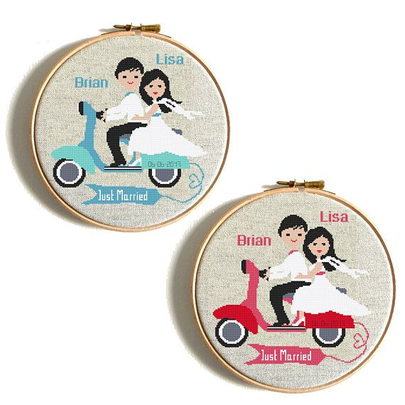 Wedding cross stitch pattern just married funny wedding gift diy wedding cross stitch pattern just married funny wedding gift diy gift personalized embroidery chart motorcycle scooterbike married counted solutioingenieria Image collections