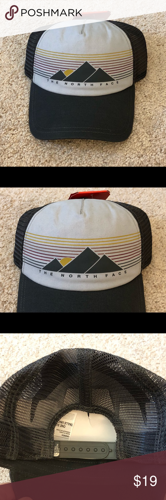 """a73e9ed8 Women's North Face Trucker Hat Brand New!! Women's The North Face Low Pro  Trucker Hat. This hat is in the color """"weathered black multi"""" which is a  white ..."""