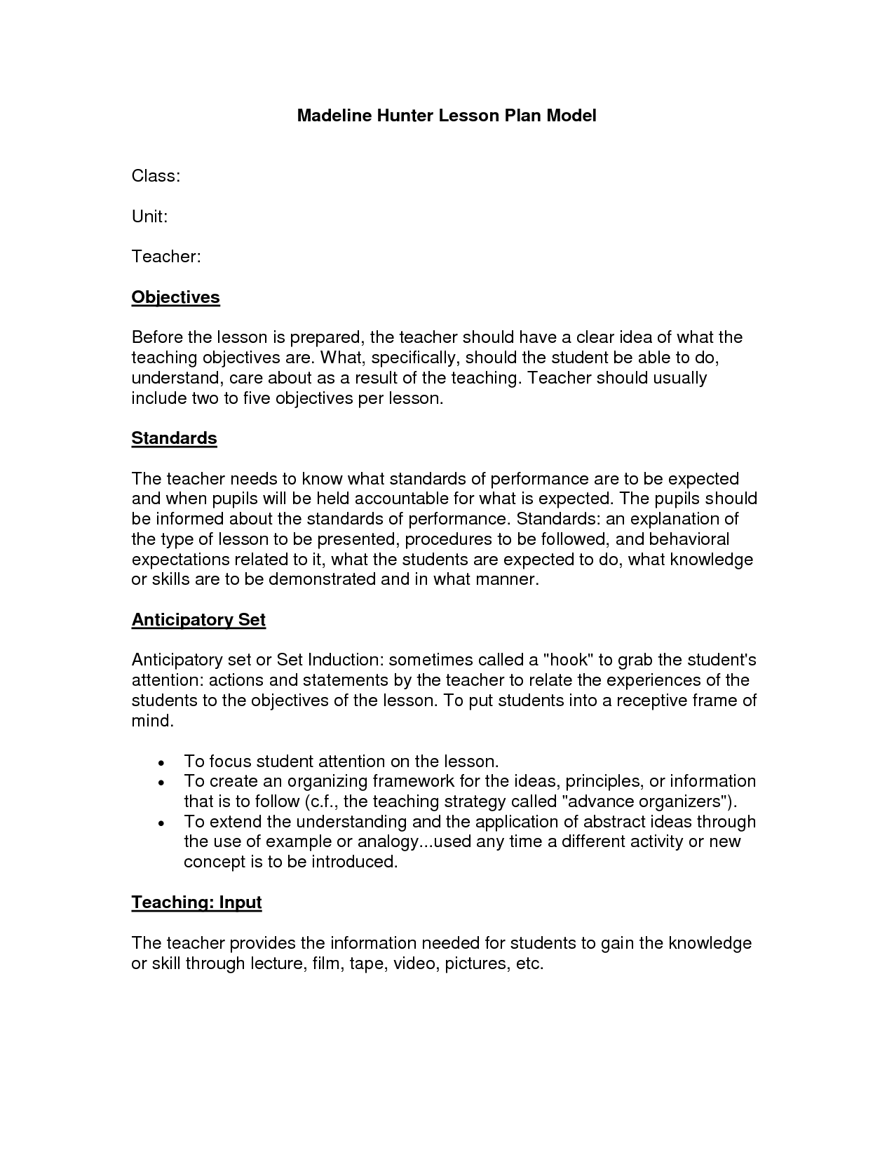 Madeline Hunter Lesson Plan Model By Ivz JqzqklO  Learning