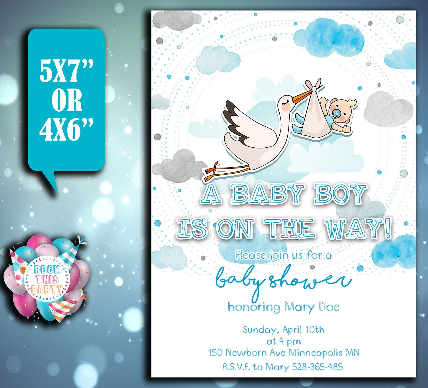 Customized BABY SHOWER invitation party supplies BABY invitation