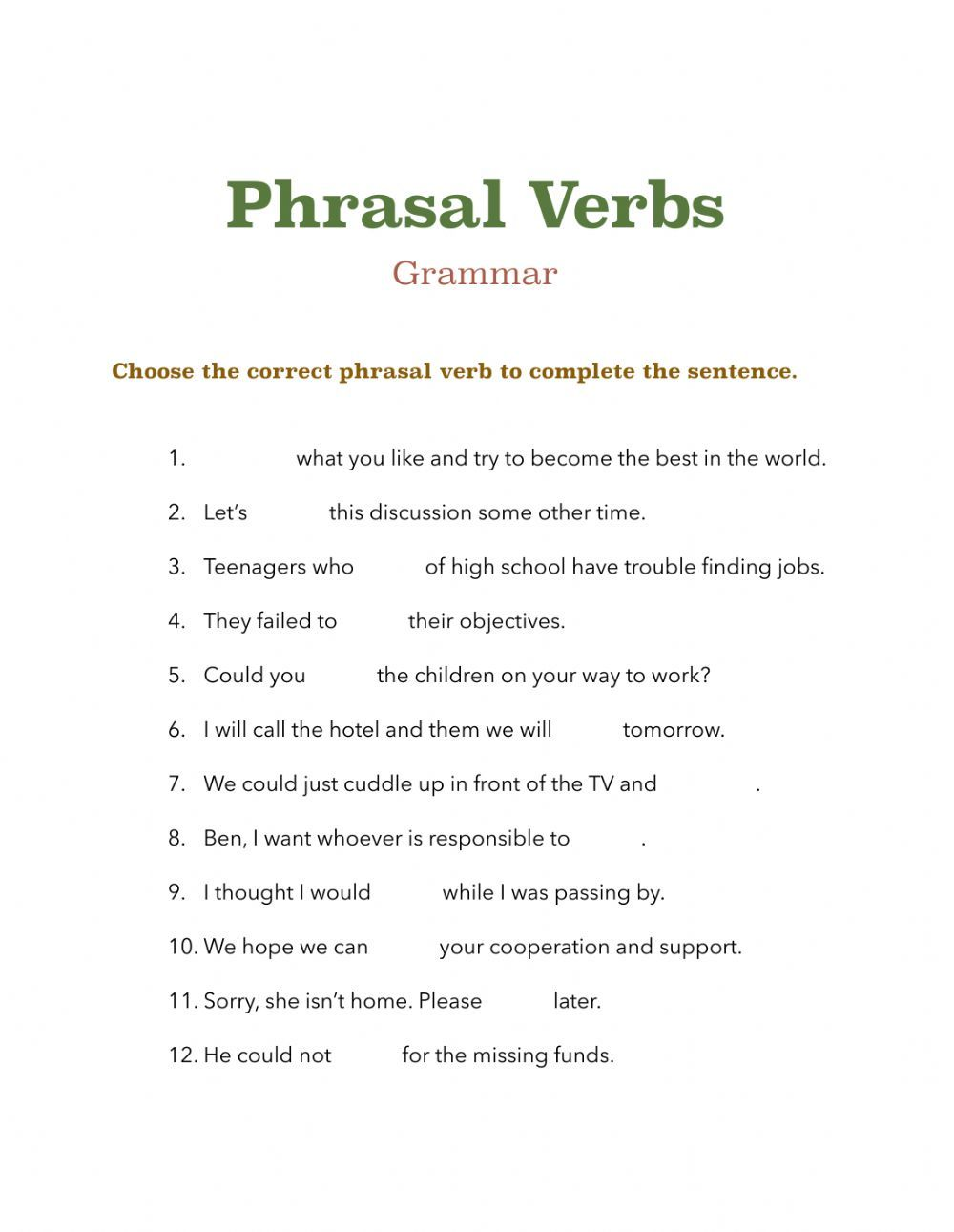 Phrasal Verbs Online Exercise For Pre Intermediate Online Workouts Verb English As A Second Language Esl [ 1291 x 1000 Pixel ]