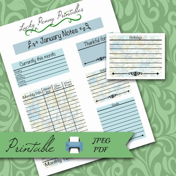 Floral January Notes Page printable planner kit, erin condren, monthly bills tracker, birthday