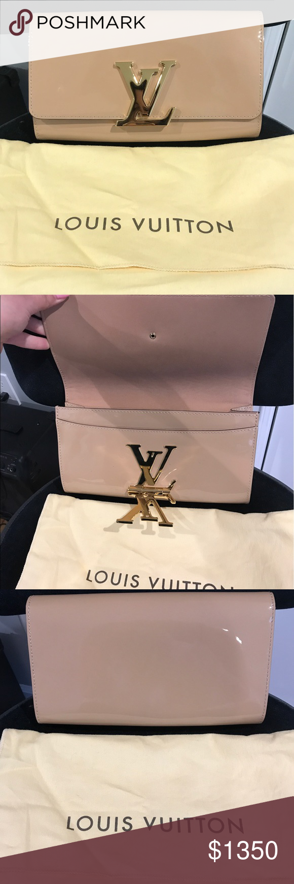 81cb6c390b91 Louis Vuitton Louise EW Nude Patent Leather Clutch Perfect condition ...