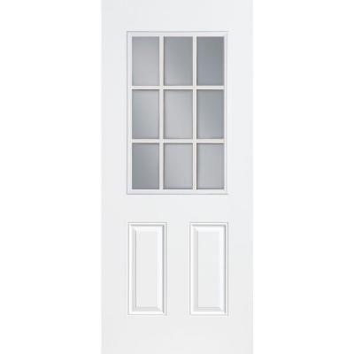 Masonite Premium 9 Lite Primed Steel Entry Door With No Brickmold 42826 At The H Fiberglass Exterior Doors Fiberglass Entry Doors Steel Entry Doors