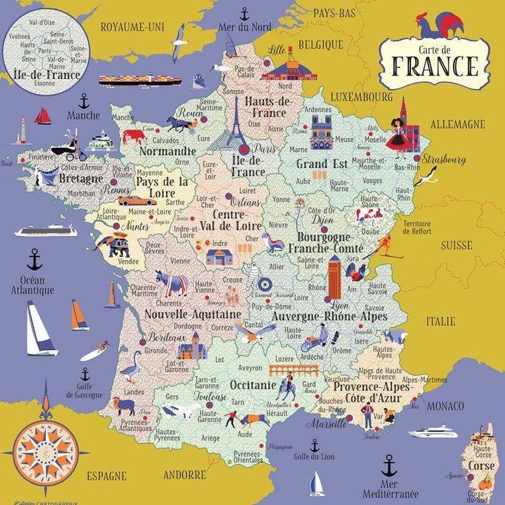 Educational infographic : Carte de France | Frankreich karte, Infografik bildung, Landkarte ...