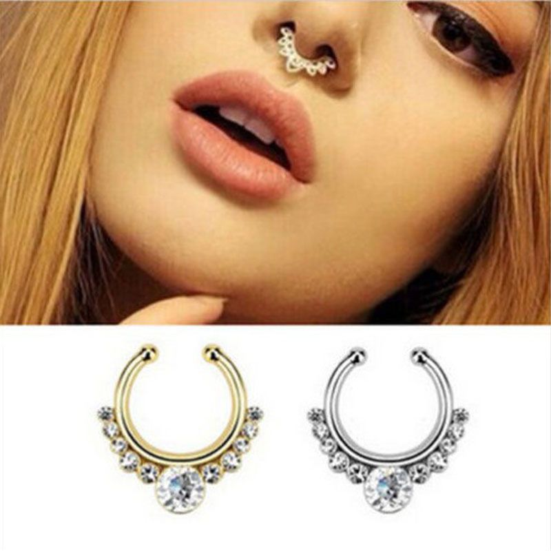 Attractive Fake Septum Nose Ring Non Piercing Hanger Alloy Gold Silver Jewelry