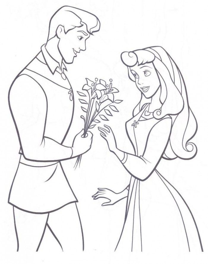 Disney Princess Aurora and The Prince Coloring Page  Kids