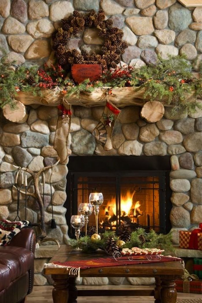 10 Country Christmas Decorating Ideas   Rock fireplaces, Wreath ...