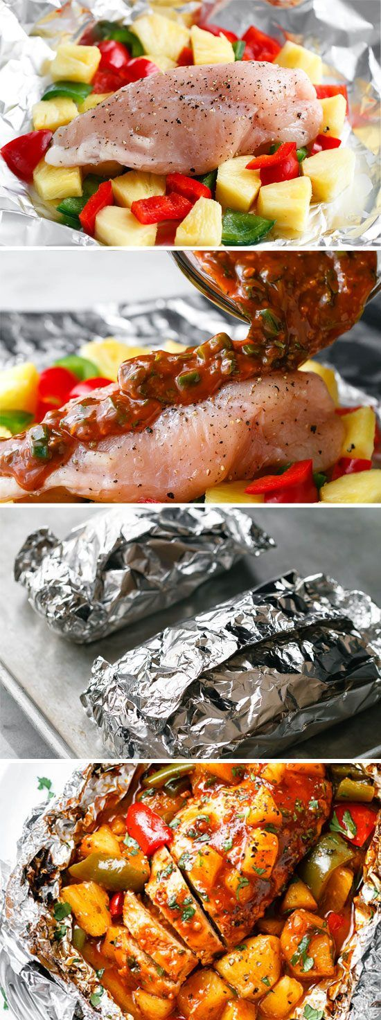 Pineapple BBQ Chicken Foil Packets in Oven #bbq