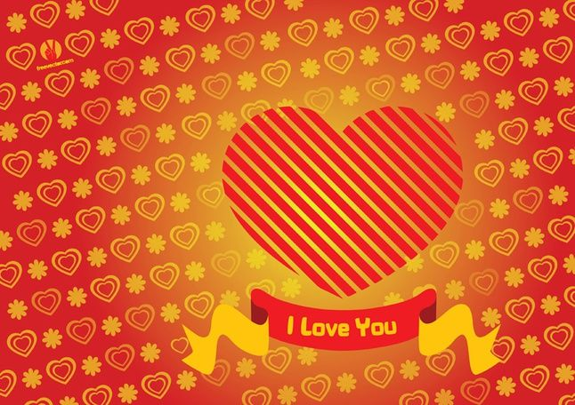 Heart Valentine Card vector free