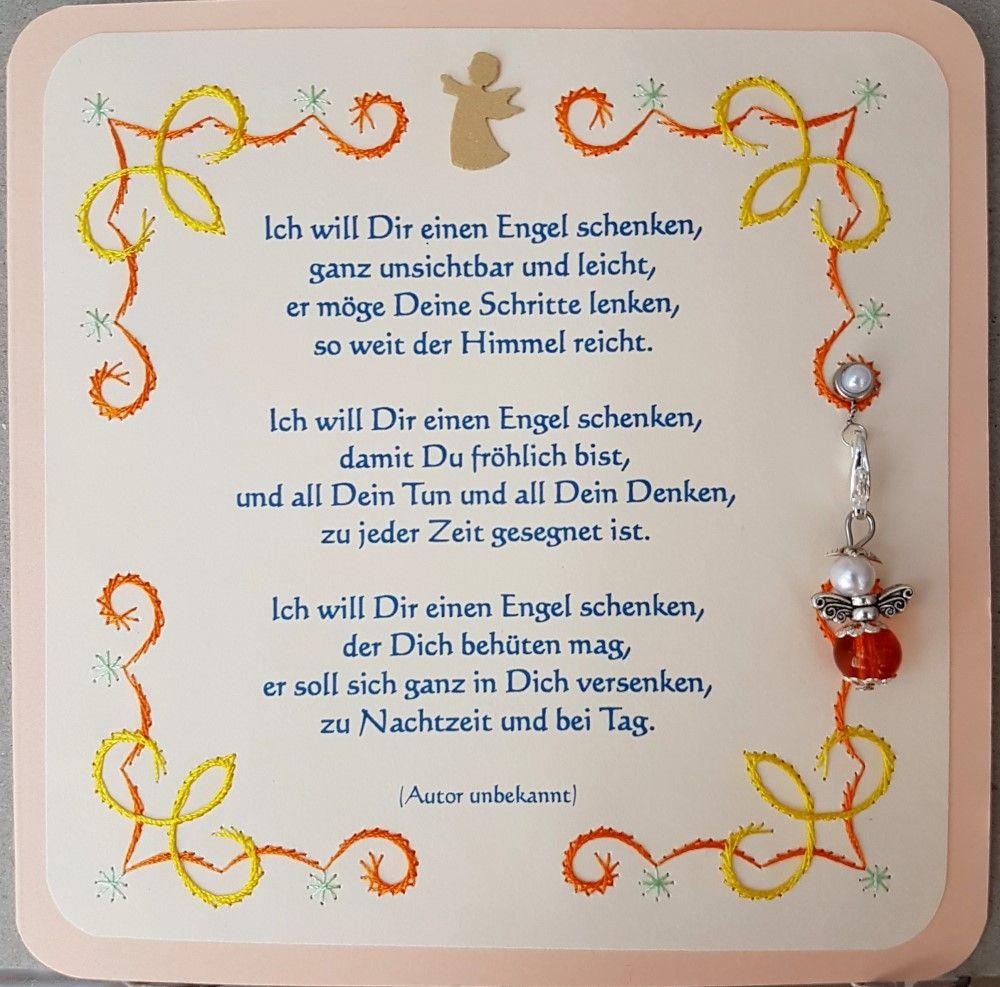 Gastgeschenk Engelchen 03 Motiv: Chrissie  Doppelkarte 13,5 x 13,5 cm mit Spruch, Fadengrafik und Engelchen-Anhänger